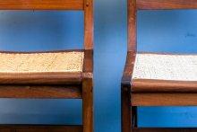 linke Sitzfläche behandelt, rechte Sitzfläche unbehandelt